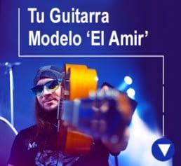 el amir con su modelo de guitarra flamenca
