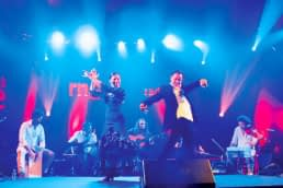 el amir, musicos, cante y bailaores en escena con flamenco sexteto