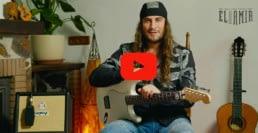 portada de video de el amir tocando su guitarra nylocaster con el amplificador orange crush acoustic