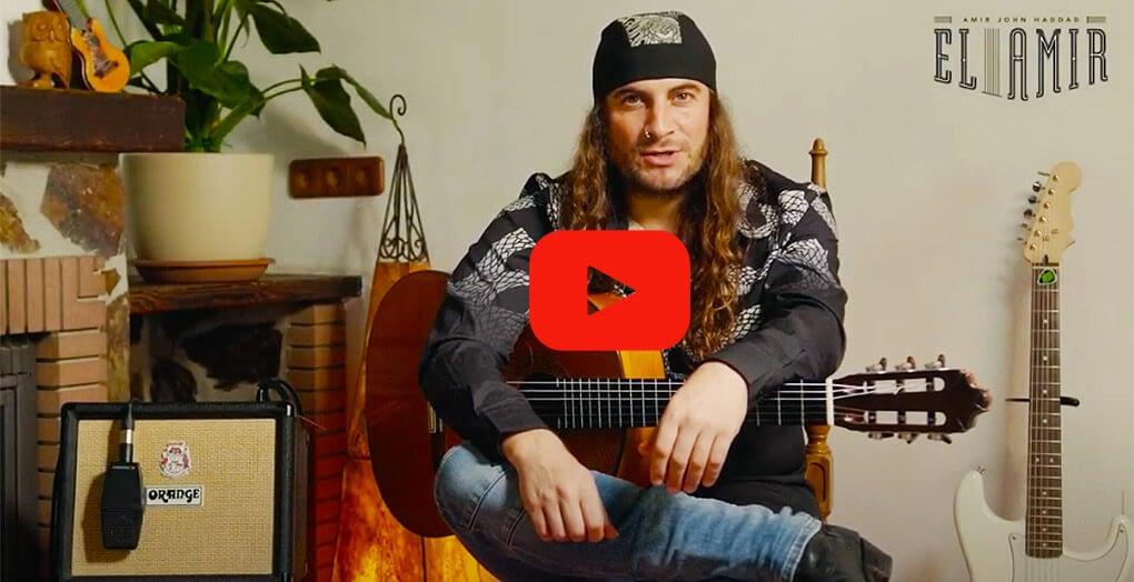 portada de video de el amir tocando guitarra flamenca con el amplificador orange crush acoustic